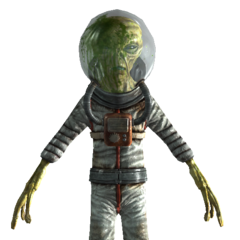 Alien with spacesuit and transparent helmet