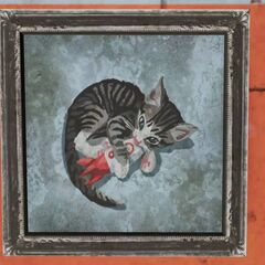 Painting of a cat with a <a class=