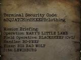 Calvin's security code