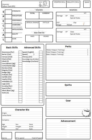 Character Sheet e1v1