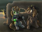 41722 safe gun fallout-equestria littlepip artist-dawnmistpony calamity steelhooves