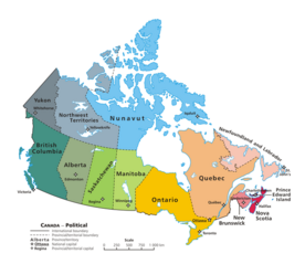 Political map of Canada