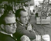 Richard Nixon watching the launch of the Virgo II landing craft