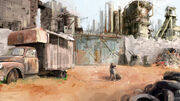 R169 457x256 796 Desert 2d illustration post apocalyptic dog picture image digital art