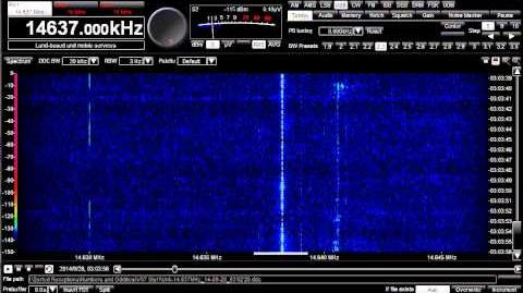 Numbers Station, V07, 16037 and 14637 kHz, with music, September 28, 2014