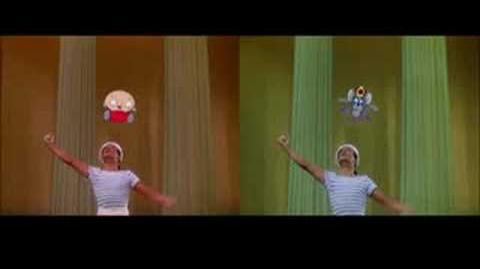 Gene Kelly dancing with Stewie and Jerry Mouse