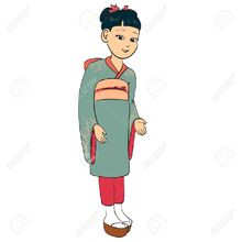 6104585-Japanese-girl-dressed-traditional-suit-kimono-Stock-Vector-cartoon