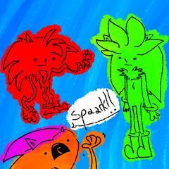 Slayd junto a Spark y Soot. (por <a href=