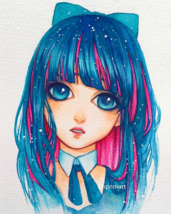 Blue pink haired girl