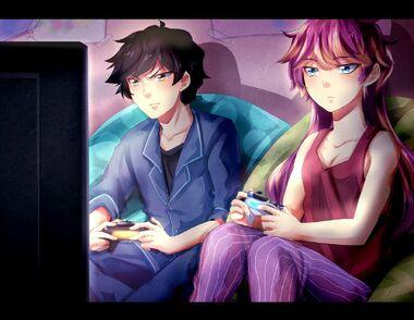 John and sera playing PS4