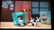 Three Rabbids and Zak with Laundry Rocket