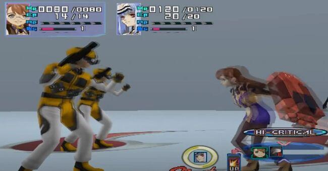 Shion Uzuki Doing a Spin Kick for Xenosaga Episode 1