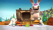 Three Rabbids got the TV Time Machine and Ice