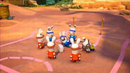 Orange Team Rabbids and Blue Team Rabbids