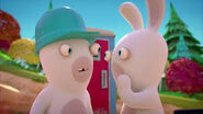 Blue Hardhat Rabbid and Rabbid