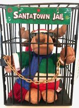 Santatown Jail Plush Deer Sings Grandma Got Ran Over By A Reindeer
