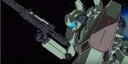 Jegan wields ReZEL's Beam rifle