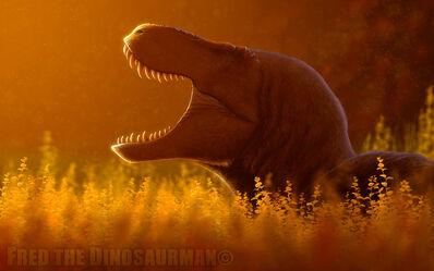 Resting tyrannosaurus rex by fredthedinosaurman-d91km60