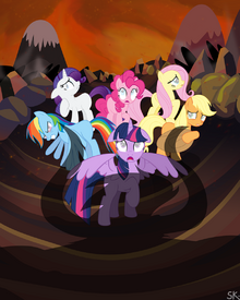 783476 safe twilight+sparkle rainbow+dash pinkie+pie fluttershy rarity applejack princess+twilight mane+six floppy+ears