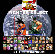 DBZ vs. Street Fighter Character Select Screen (Xbox One Version)