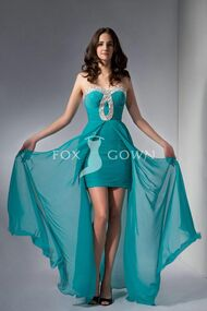 Teal-beaded-sweetheart-strapless-short-empire-chiffon-evening-dress-with-front-slit-overlay-skirt