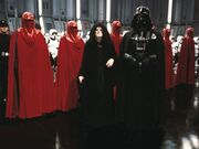 The Emperor with Vader, his Guards, and Stormtroopers