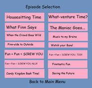 Episode selection to adventure time dvd