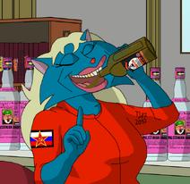 Olga drinks V2