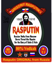 Rasputin vodka label