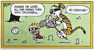 Calvin and Hobbes playing Calvinball