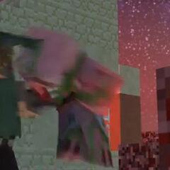 Steve salva al aldeano, asesinando al zombi cerdo.