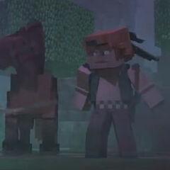 Steve y Trotón, rodeados por zombis en el bosque del crepúsculo.