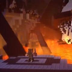 El castillo de Herobrine es destruido por él mismo.
