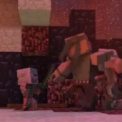 Steve pelea cuerpo a cuerpo contra los zombis cerdo.