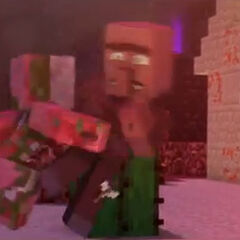 Un zombi cerdo asesinando a un aldeano.