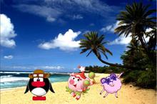 Нюша, Бараш и Пин на пляже