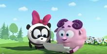 Нюша и медведь Бараш читает Панди стихи