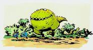 Шорк и Крош бегут от динозавра