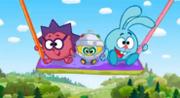 Каникулы Биби Крош, Ёжик и Биби качаются на качелях