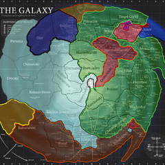 Skyriver w 510 ABY. Srebrny = Nowe Imperium; Ciemny Niebieski = Imperium Fel Żółty = Hunroni Skyriverańscy; Pomarańczowy = Sojusz Międzygalaktyczny; Zielony = Trzecia Republika; Czerwony = Najwyższy Porządek; Jasny Pomarańczowy = Orda Północna; Brązowy = Imperium Sithów; Różowy = Święte Księstwo Allemaine; Niebieski = Federacja Tingel.