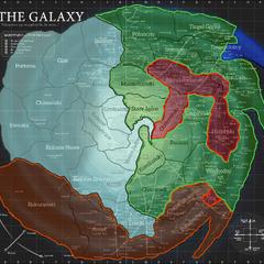 Skyriver 360 ABY. Srebrny = Nowe Imperium; Pomarańczowy = Sojusz Południowych Systemów; Zielony = Trzecia Republika; Czerwony = Najwyższy Porządek; Niebieski = Federacja Tingel.
