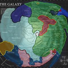 Skyriver 490 ABY. Srebrny = Nowe Imperium; Ciemny Niebieski = Imperium Fel Żółty = Hunroni Skyriverańscy; Różowy = Front Wyzwolenia Południa; Błękitny = Sojusz Międzygalaktyczny; Zielony = Trzecia Republika; Czerwony = Najwyższy Porządek; Czarny = Repbulika Navarska; Jasny Pomarańczowy = Orda Północna; Niebieski = Federacja Tingel.