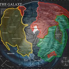Skyriver 37 ABY. Żółty = Konfederacja Lojalistów; Czarny = Heptarchia; Czerwony = Najwyższy Porządek; Zielony = Nowa Republika; Brązowy = Imperium Huttów.