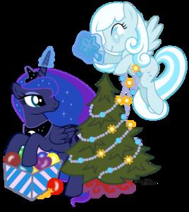 Luna i Snowdrop z choinką by AgnessAngel