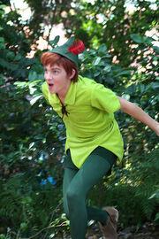 Peter Pan surprising us on the Family Magic Tour at the Magic Kingdom