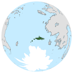 Location of Ice Crest on the globe.