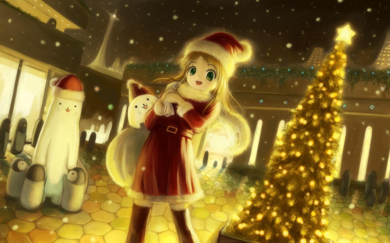 Image Anime Girl Christmas Scene Wallpaper Jpg Fantastic Pretty
