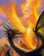 Bob Eggleton - Unknown - A black dragon and a phoenix