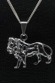 Zilveren leeuw groot ketting hanger 110