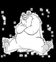 Polar bear sitting on hatch